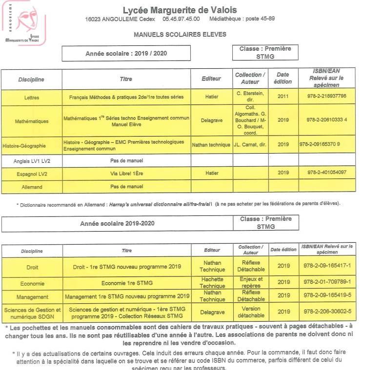 Liste des manuels 1STMG