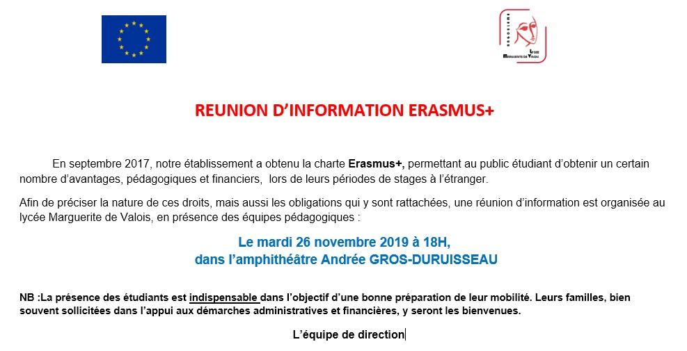 Réunion ERASMUS +