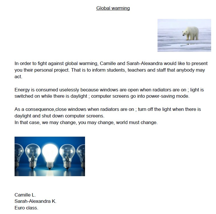 Acting against global warming